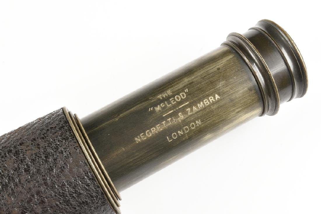 "A NEGRETTI & ZAMBRA DEER STALKING BRASS TELESCOPE, ""THE - 3"