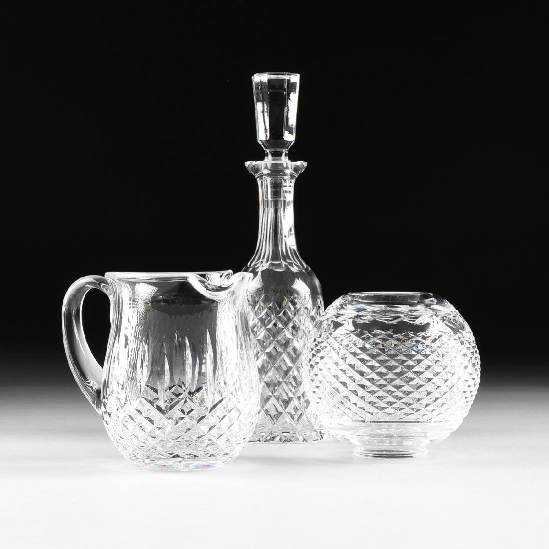 A GROUP OF THREE WATERFORD CUT CRYSTAL VESSELS, CIRCA