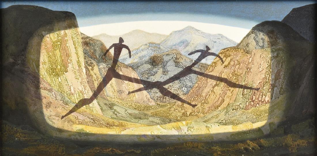 "JAN HOOWIJ (American 1907-1987) A PAINTING, ""Caveman's"