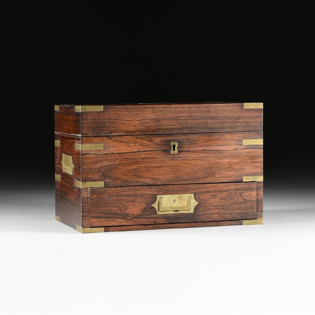 A VICTORIAN BRASS MOUNTED ROSEWOOD DRESSING CASE, CIRCA
