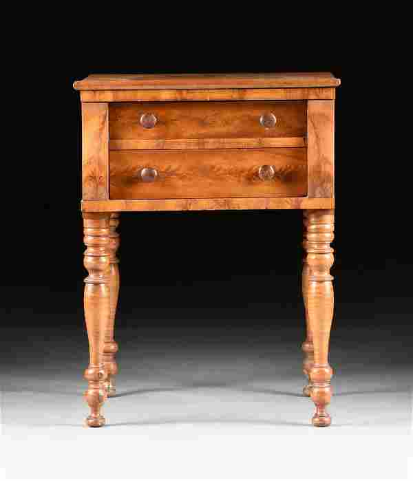 AN AMERICAN SHERATON LATE FEDERAL BLOND FLAME MAHOGANY,