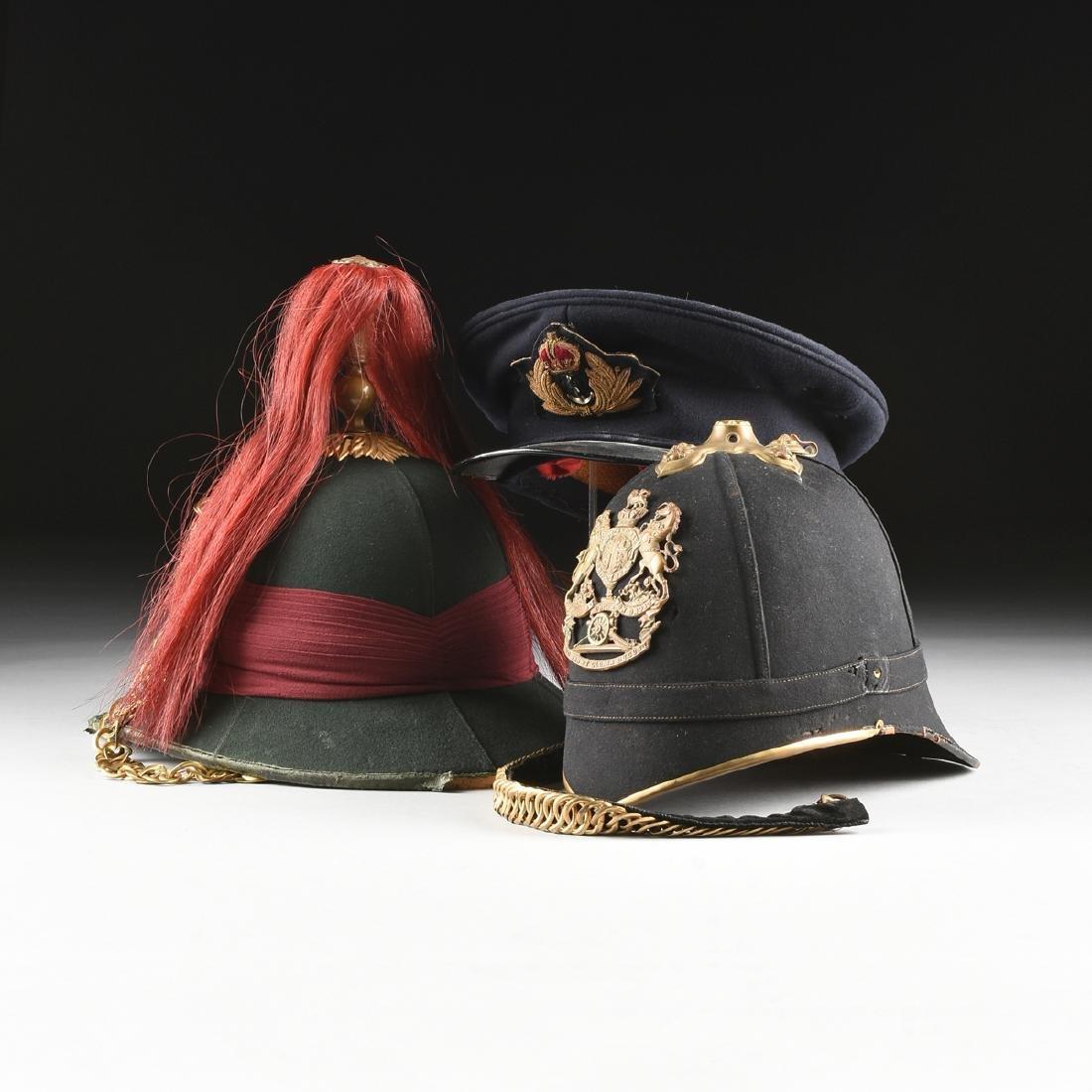 A GROUP OF THREE BRITISH MILITARY HATS, CIRCA