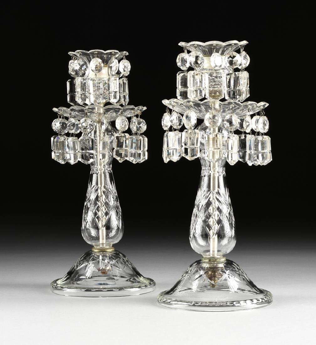 A PAIR OF GERMAN CUT CLEAR CRYSTAL TABLE LUSTERS, EARLY