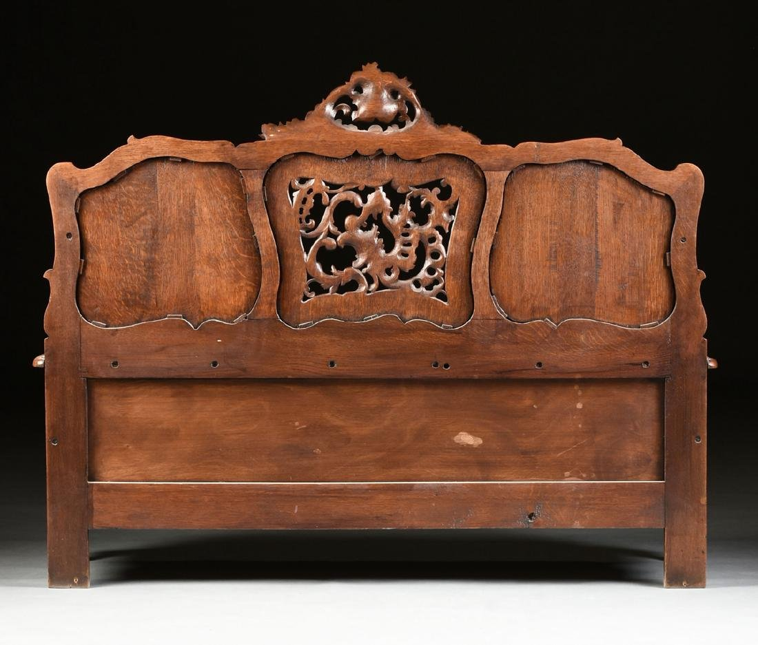 A LOUIS XV PROVINCIAL STYLE PARQUETRY INLAID CARVED OAK - 10