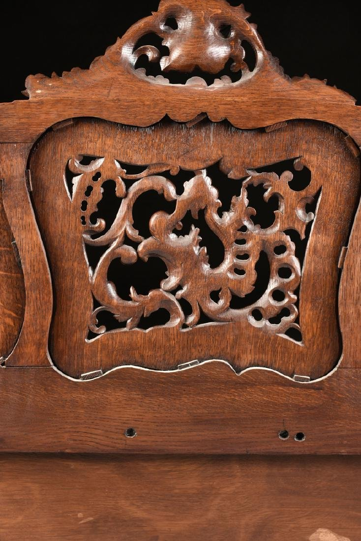A LOUIS XV PROVINCIAL STYLE PARQUETRY INLAID CARVED OAK - 11