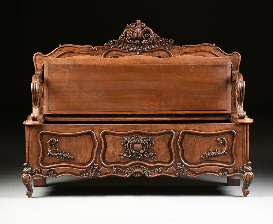 A LOUIS XV PROVINCIAL STYLE PARQUETRY INLAID CARVED OAK - 2