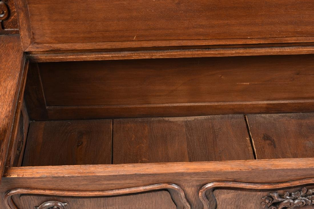 A LOUIS XV PROVINCIAL STYLE PARQUETRY INLAID CARVED OAK - 3