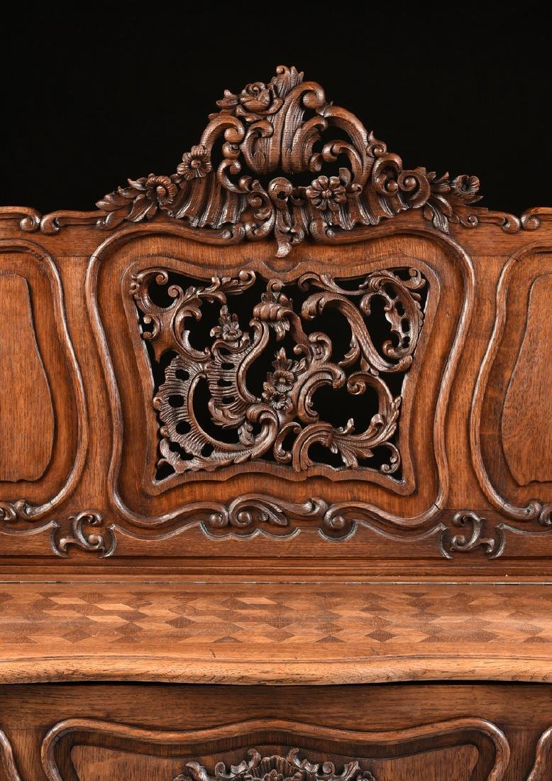 A LOUIS XV PROVINCIAL STYLE PARQUETRY INLAID CARVED OAK - 5