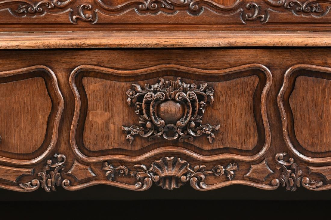 A LOUIS XV PROVINCIAL STYLE PARQUETRY INLAID CARVED OAK - 8