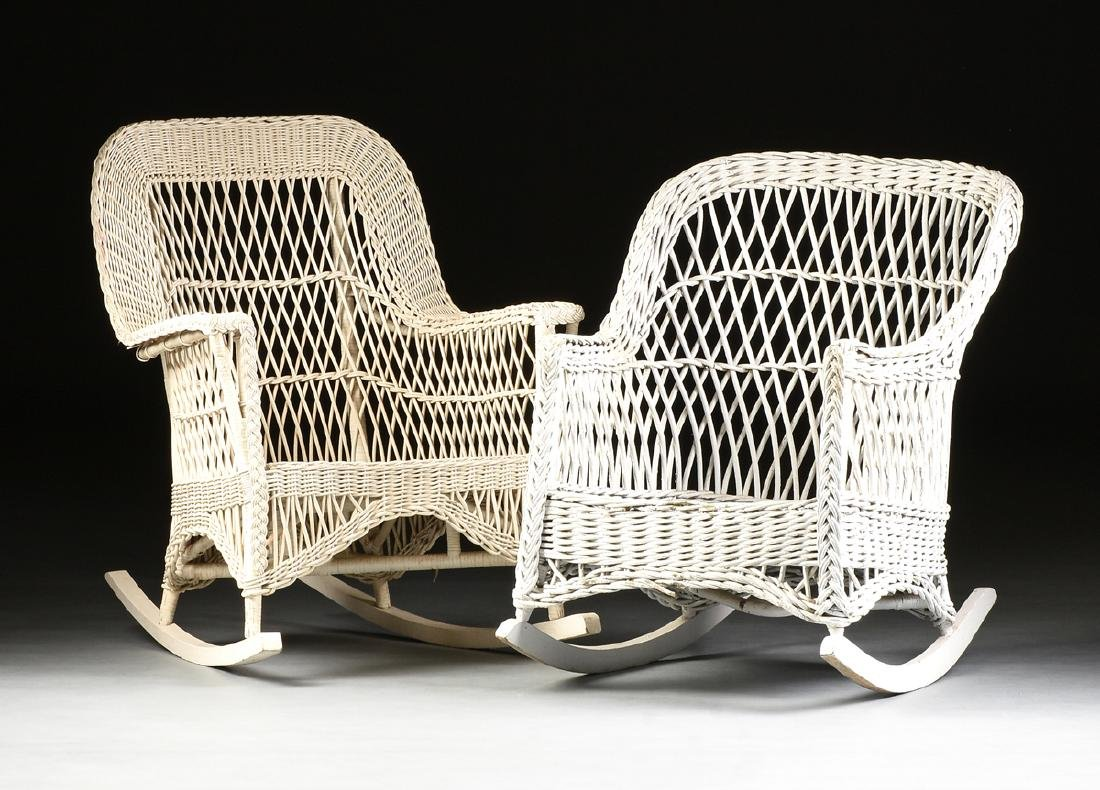 TWO AMERICAN BAR HARBOR STYLE ARMCHAIR ROCKERS,