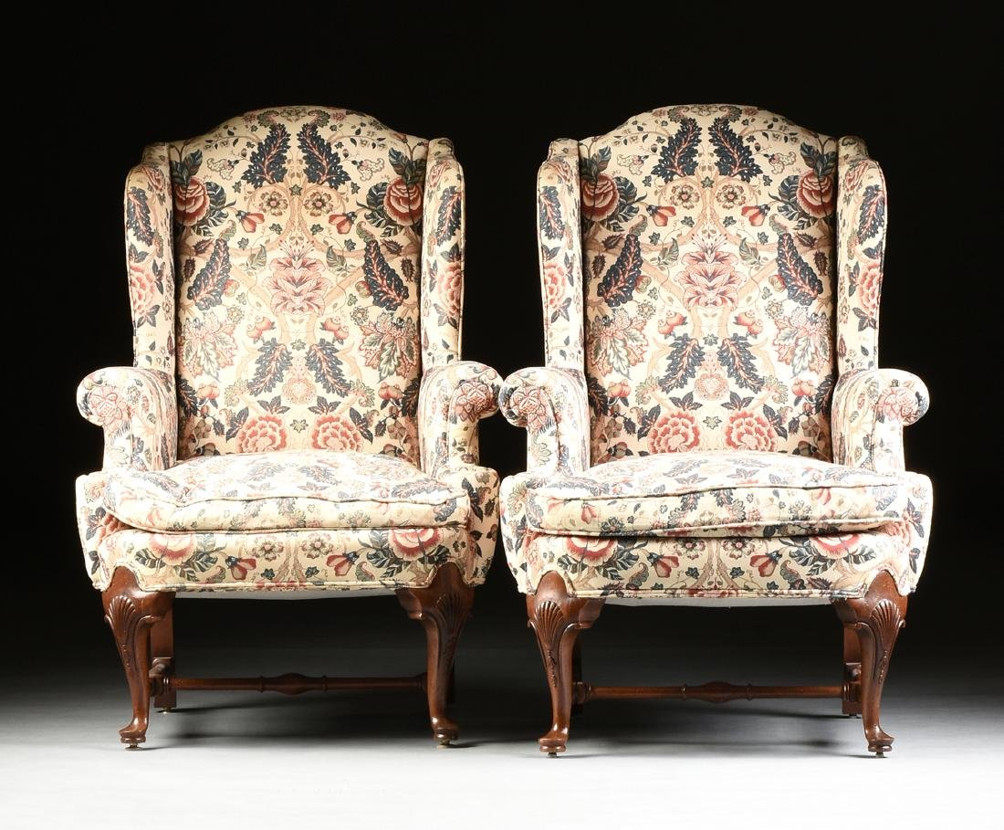 A PAIR OF QUEEN ANNE STYLE MAHOGANY WING BACK