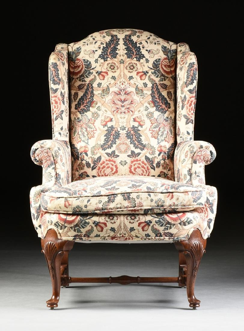 A PAIR OF QUEEN ANNE STYLE MAHOGANY WING BACK - 2