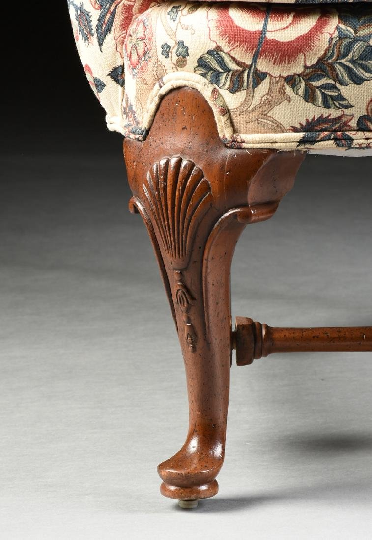A PAIR OF QUEEN ANNE STYLE MAHOGANY WING BACK - 4