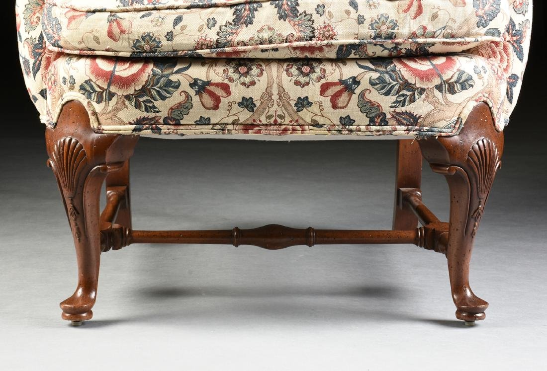 A PAIR OF QUEEN ANNE STYLE MAHOGANY WING BACK - 5