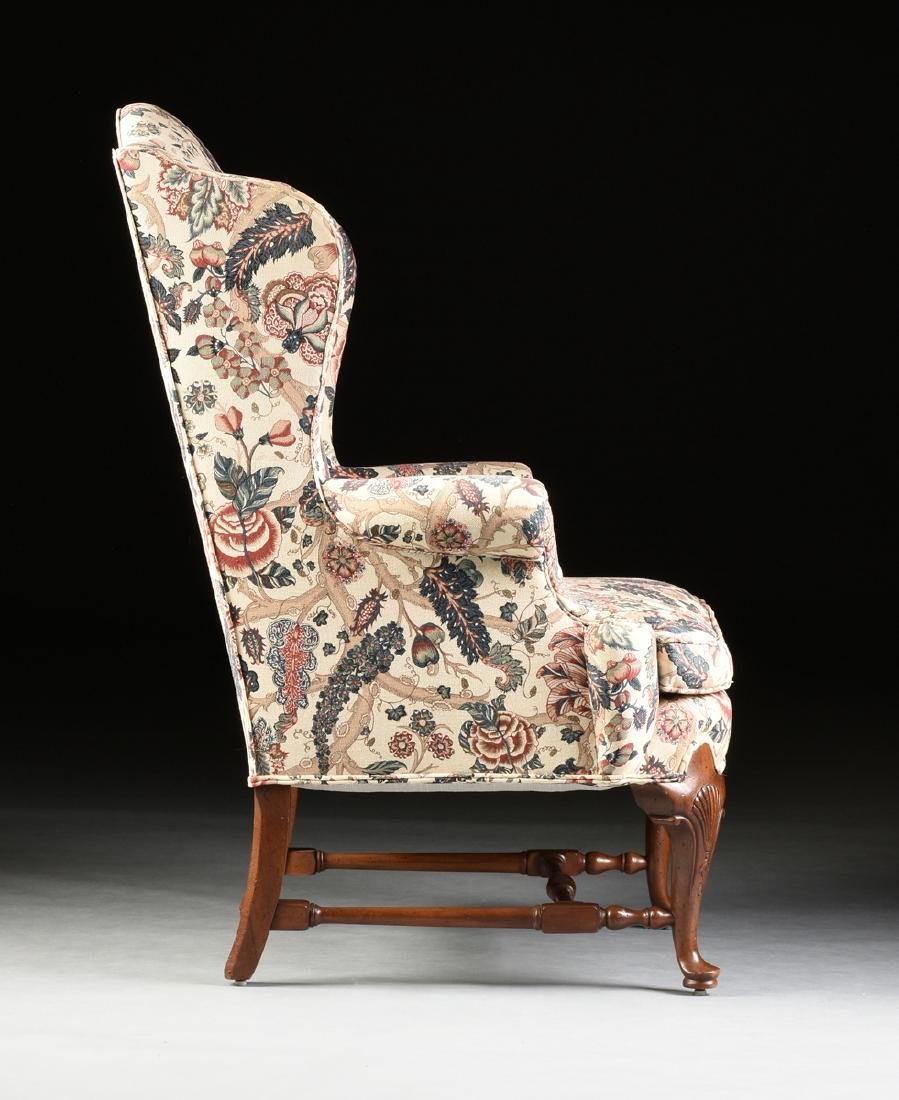 A PAIR OF QUEEN ANNE STYLE MAHOGANY WING BACK - 6