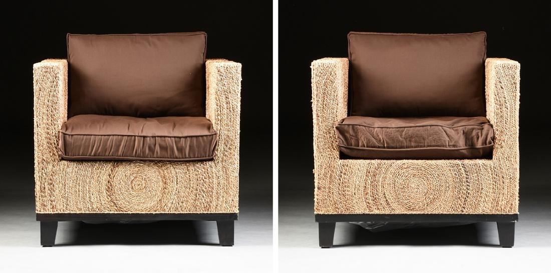A PAIR OF CONTEMPORARY ABACA ROPE LOUNGE ARMCHAIRS,