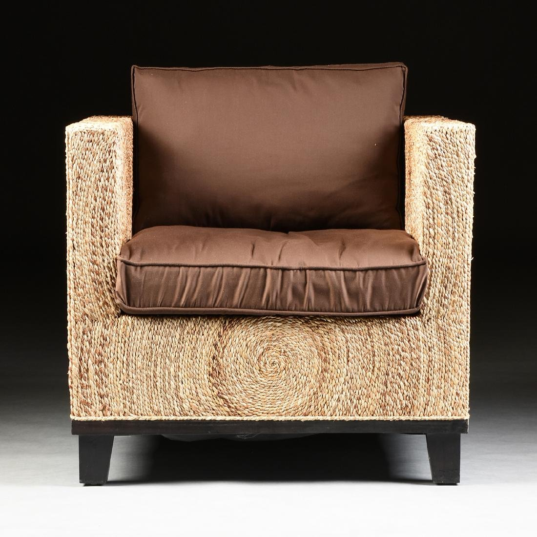 A PAIR OF CONTEMPORARY ABACA ROPE LOUNGE ARMCHAIRS, - 2