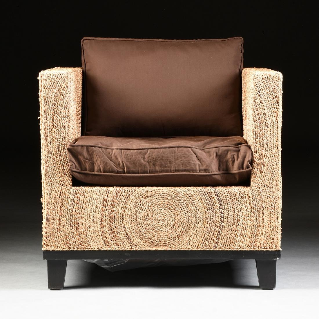 A PAIR OF CONTEMPORARY ABACA ROPE LOUNGE ARMCHAIRS, - 3