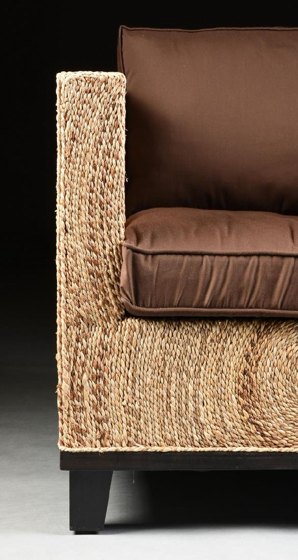 A PAIR OF CONTEMPORARY ABACA ROPE LOUNGE ARMCHAIRS, - 4