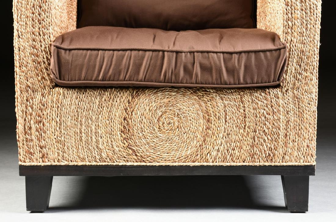 A PAIR OF CONTEMPORARY ABACA ROPE LOUNGE ARMCHAIRS, - 5