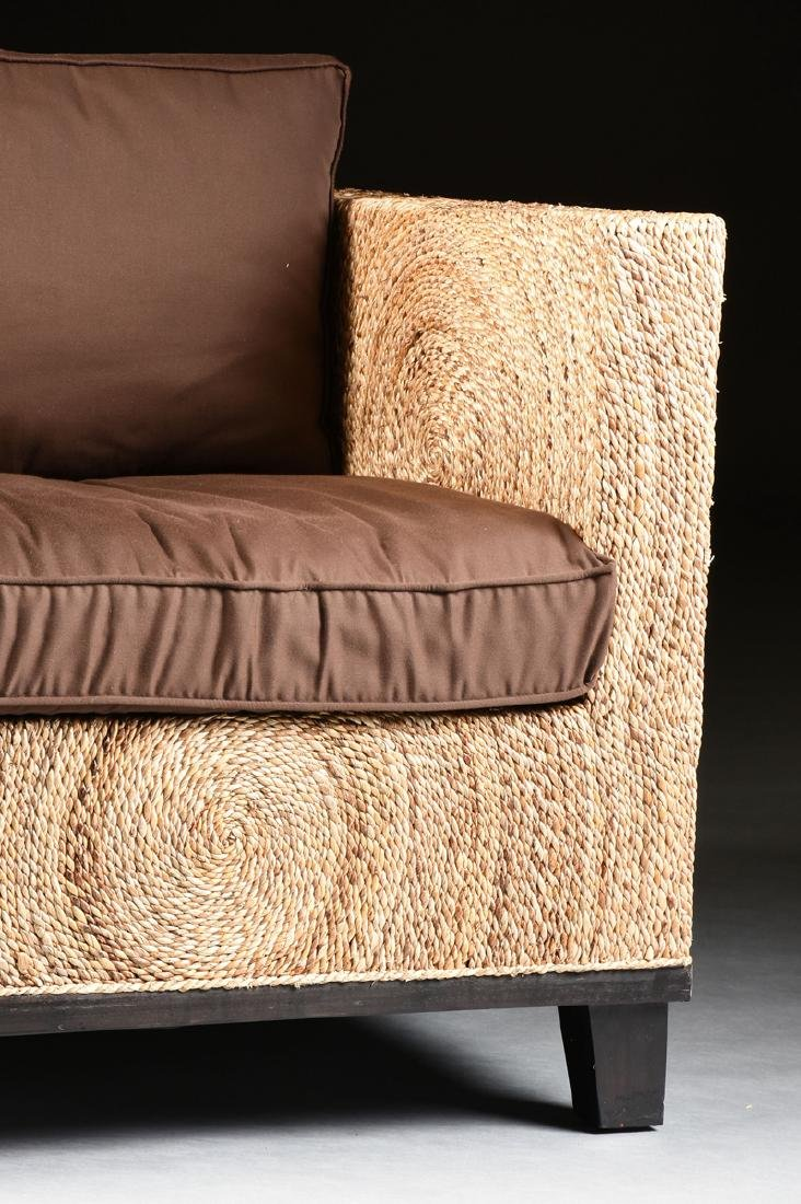 A PAIR OF CONTEMPORARY ABACA ROPE LOUNGE ARMCHAIRS, - 6