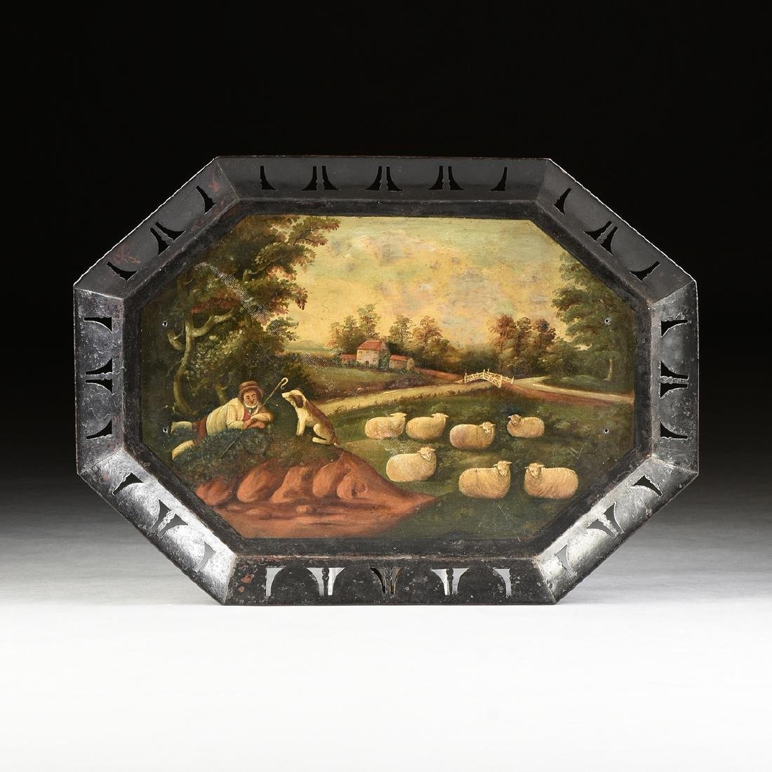 A TOLE PEINTE RETICULATED IRON TRAY, ENGLISH, POSSIBLY