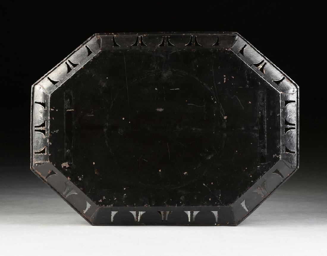 A TOLE PEINTE RETICULATED IRON TRAY, ENGLISH, POSSIBLY - 8