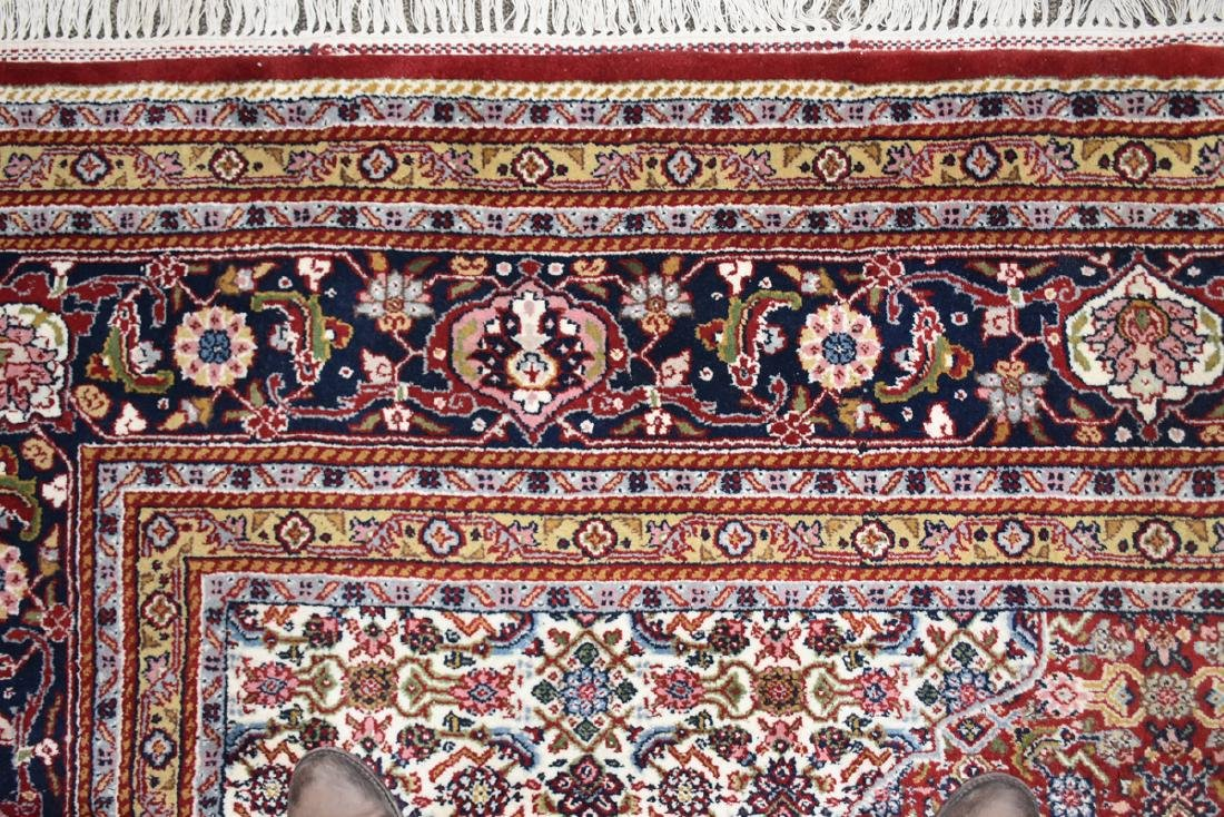 AN INDIAN HAND KNOTTED WOOL TABRIZ STYLE RUG, LATE 20TH - 7