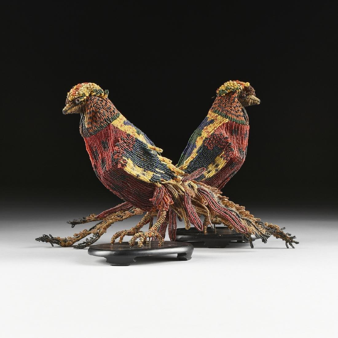 A PAIR OF VENETIAN BEADED GLASS BIRD FORM LAMPS, CIRCA - 2