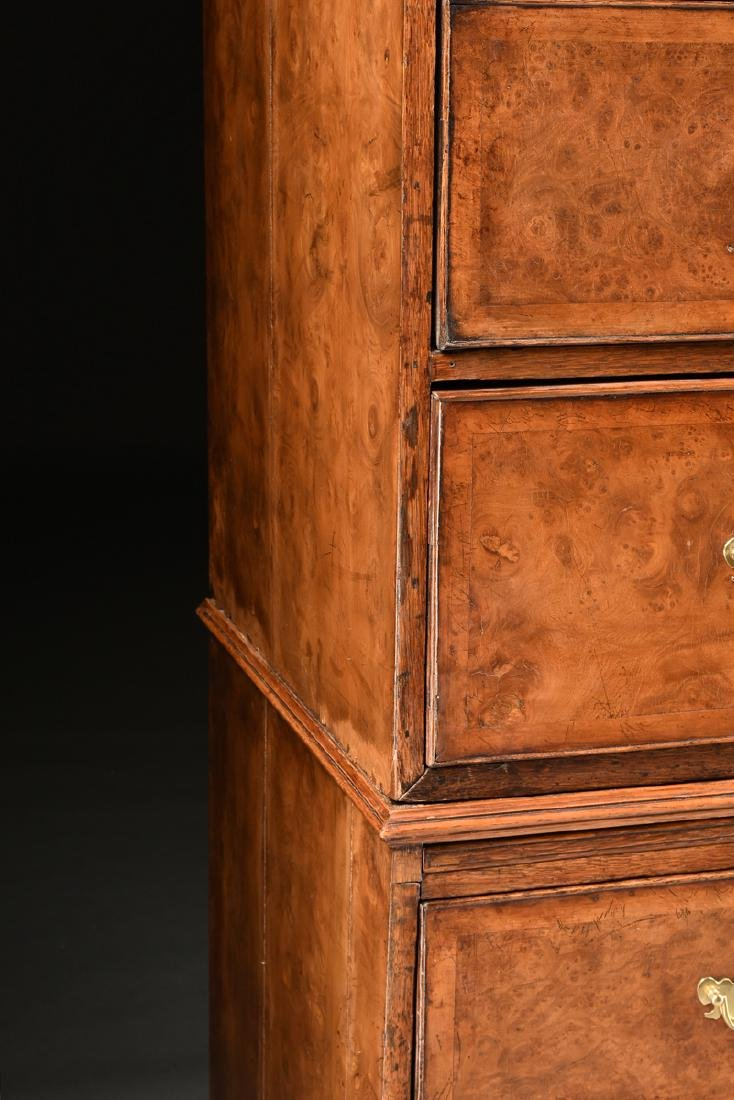 A VENEERED BURR ELM, MAPLE AND OAK CHEST ON CHEST, - 10