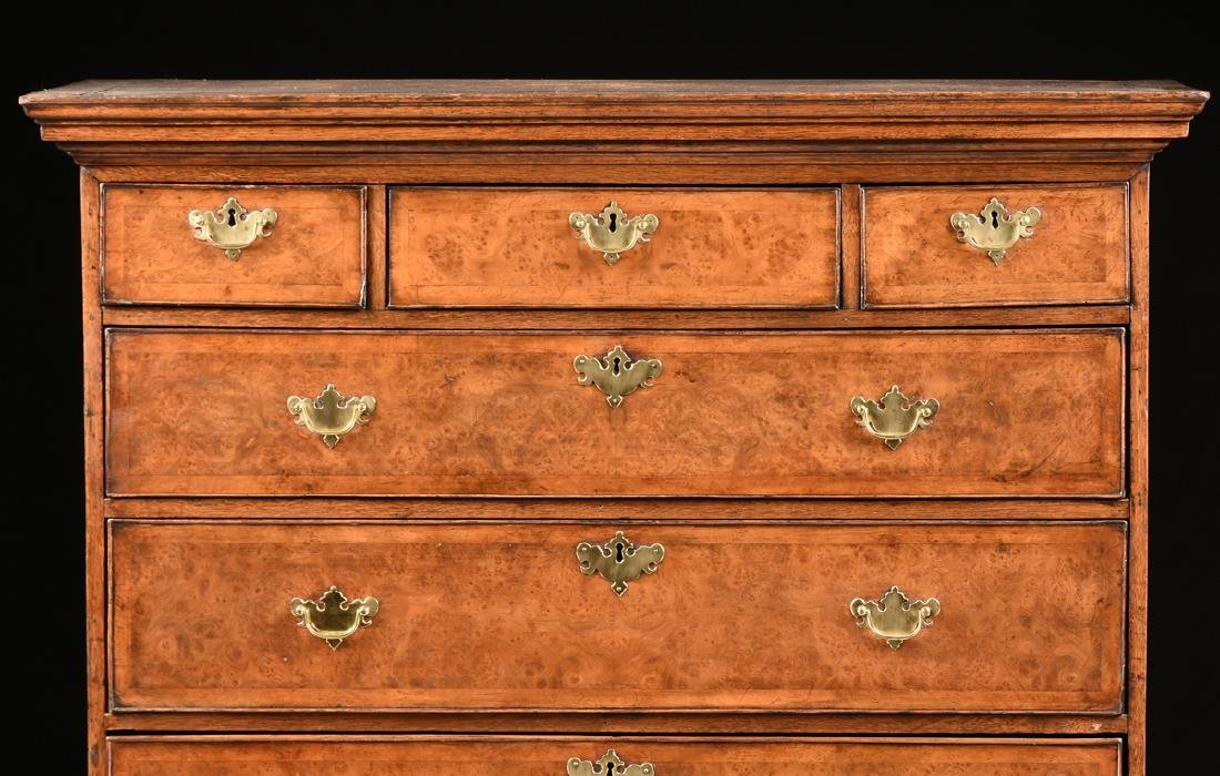 A VENEERED BURR ELM, MAPLE AND OAK CHEST ON CHEST, - 2