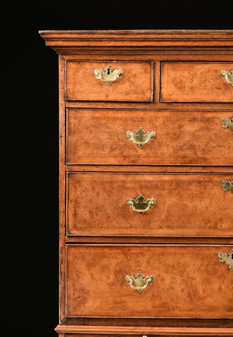 A VENEERED BURR ELM, MAPLE AND OAK CHEST ON CHEST, - 3