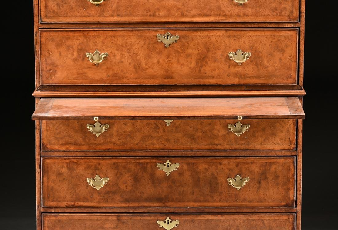 A VENEERED BURR ELM, MAPLE AND OAK CHEST ON CHEST, - 5