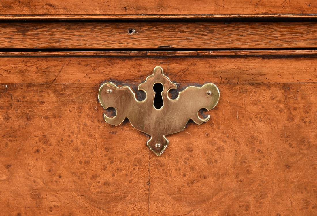 A VENEERED BURR ELM, MAPLE AND OAK CHEST ON CHEST, - 6