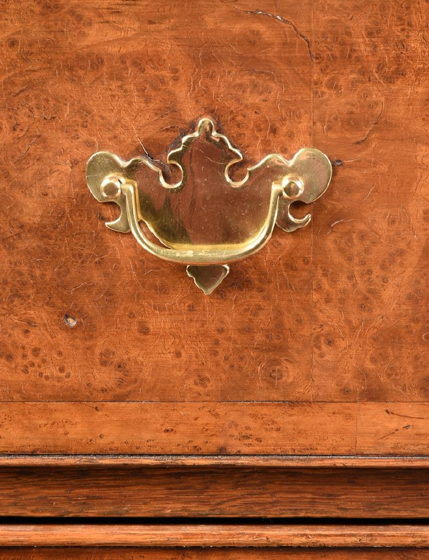 A VENEERED BURR ELM, MAPLE AND OAK CHEST ON CHEST, - 7