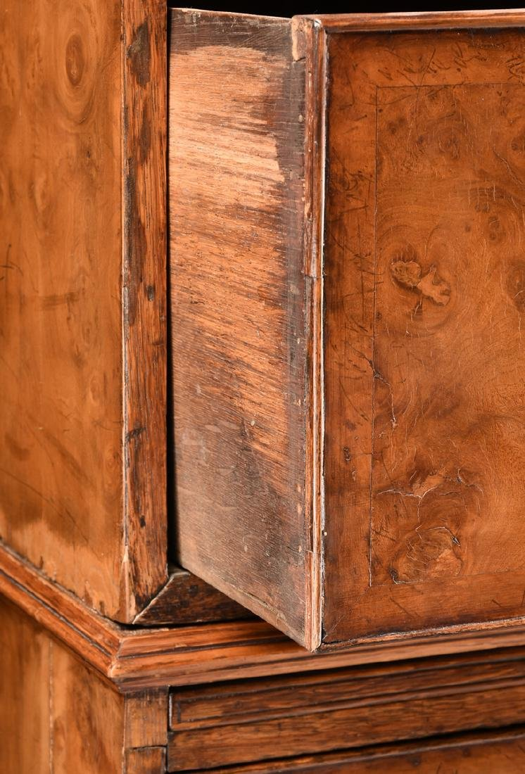 A VENEERED BURR ELM, MAPLE AND OAK CHEST ON CHEST, - 8