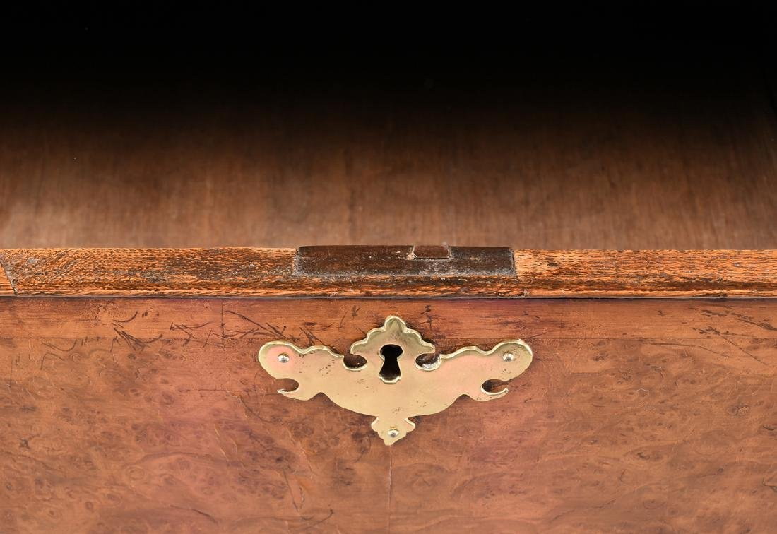 A VENEERED BURR ELM, MAPLE AND OAK CHEST ON CHEST, - 9