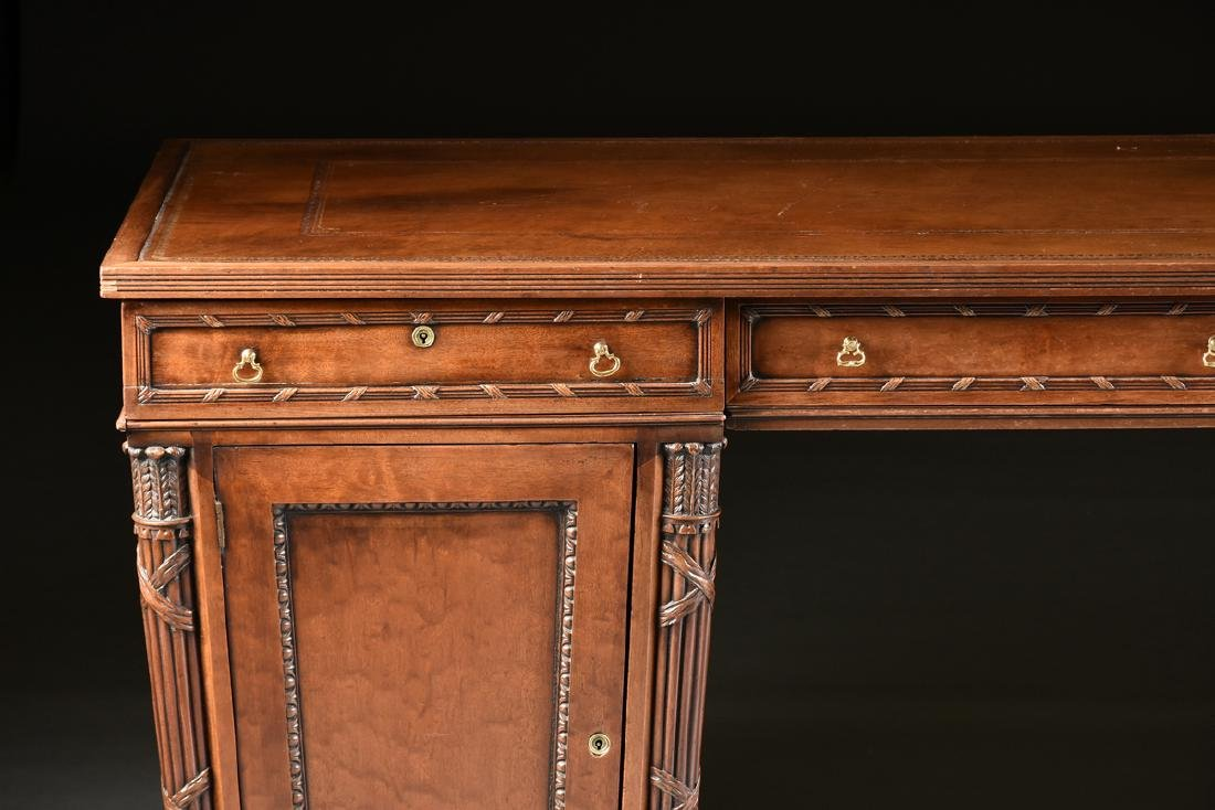 AN EGYPTIAN REVIVAL MAHOGANY PARTNER'S DESK, EARLY 20TH - 3