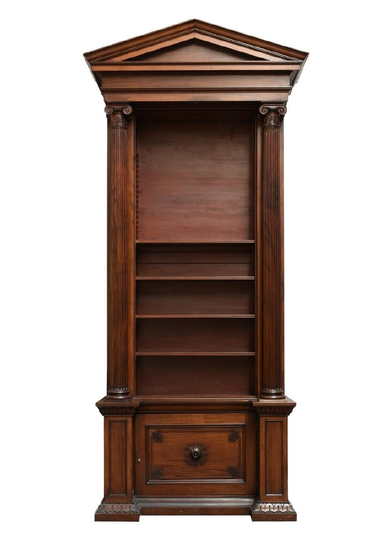 A MONUMENTAL PAIR OF REGENCY STYLE MAHOGANY BOOKCASES, - 2
