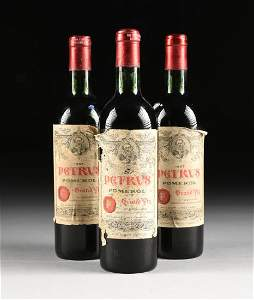 A GROUP OF THREE BOTTLES OF 1967 PETRUS POMERAL WINE,