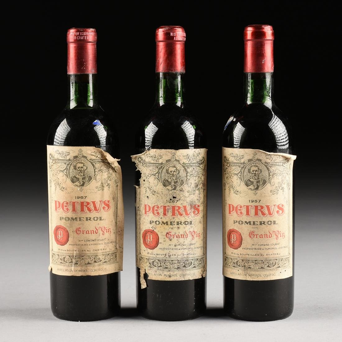 A GROUP OF THREE BOTTLES OF 1967 PETRUS POMERAL WINE, - 2