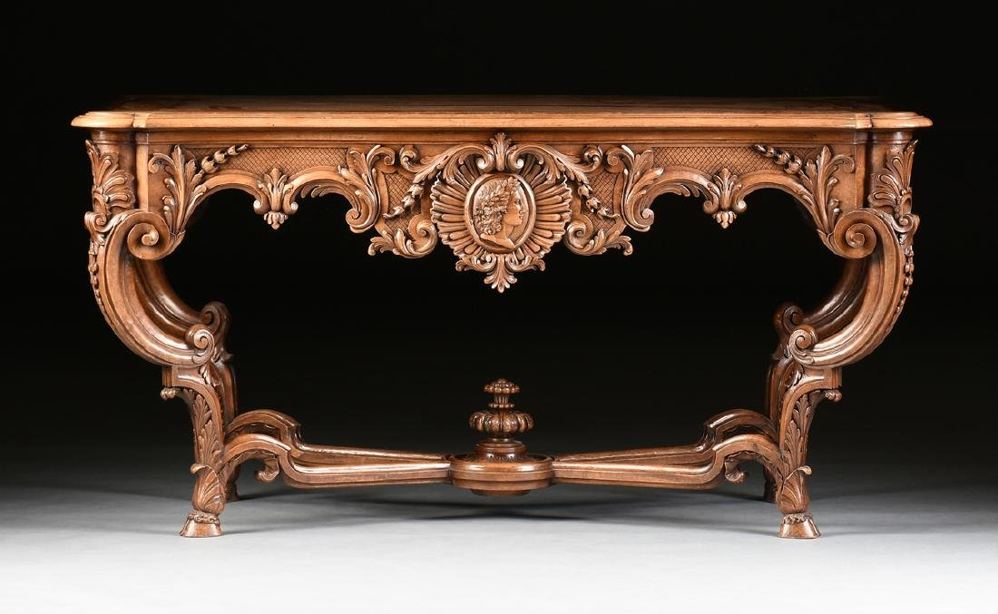 A LOUIS XV STYLE CARVED WALNUT CENTER TABLE, 20TH