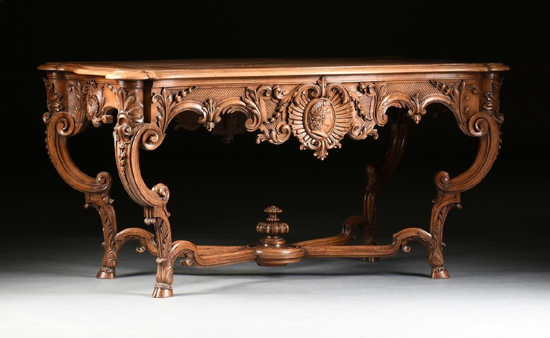 A LOUIS XV STYLE CARVED WALNUT CENTER TABLE, 20TH - 2