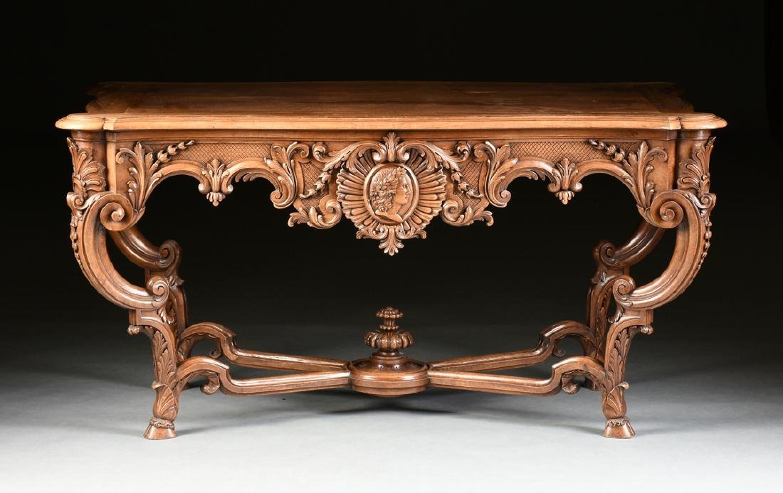 A LOUIS XV STYLE CARVED WALNUT CENTER TABLE, 20TH - 3
