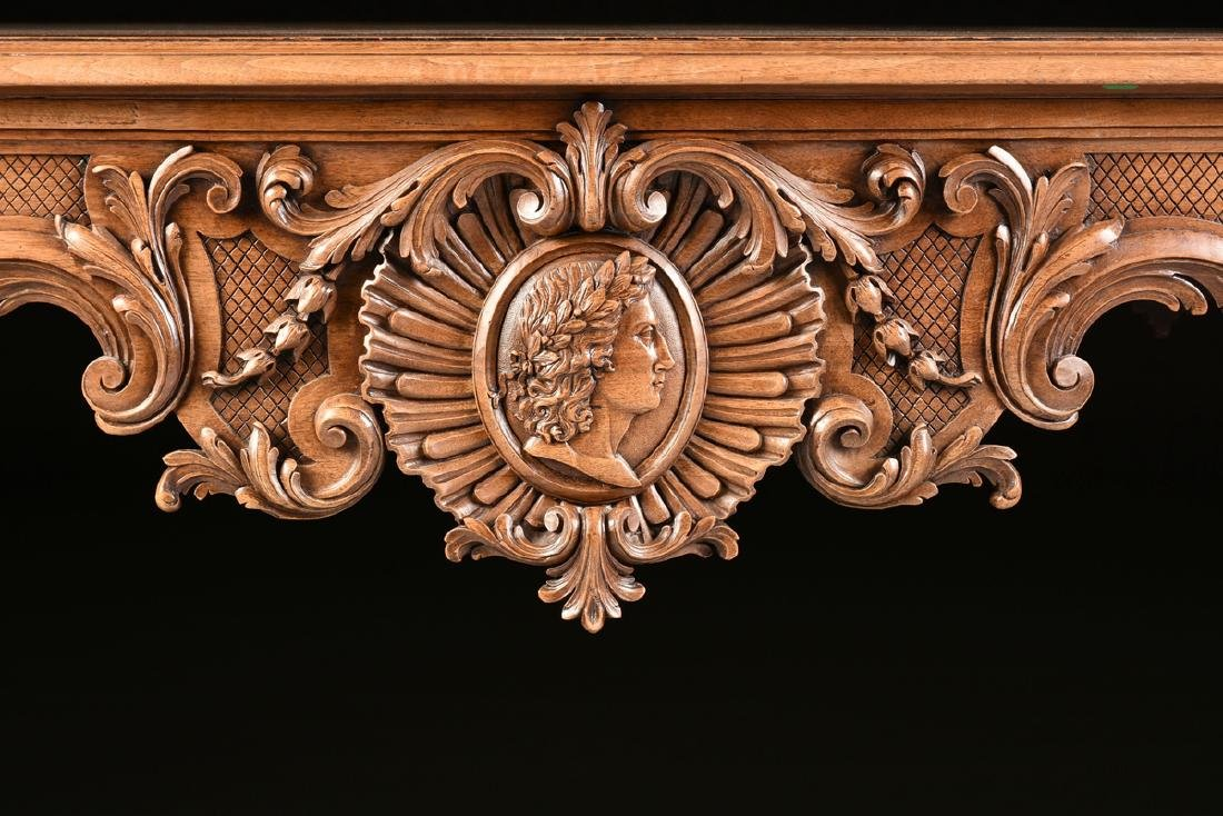 A LOUIS XV STYLE CARVED WALNUT CENTER TABLE, 20TH - 5