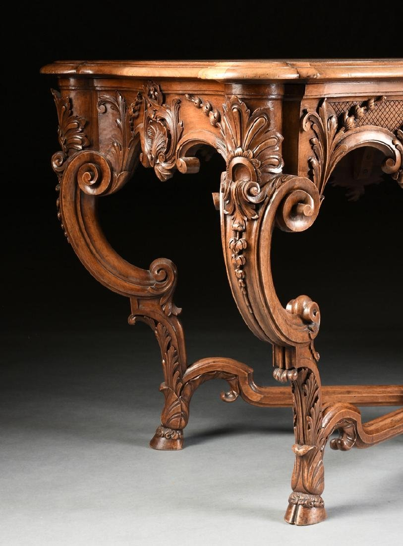 A LOUIS XV STYLE CARVED WALNUT CENTER TABLE, 20TH - 8