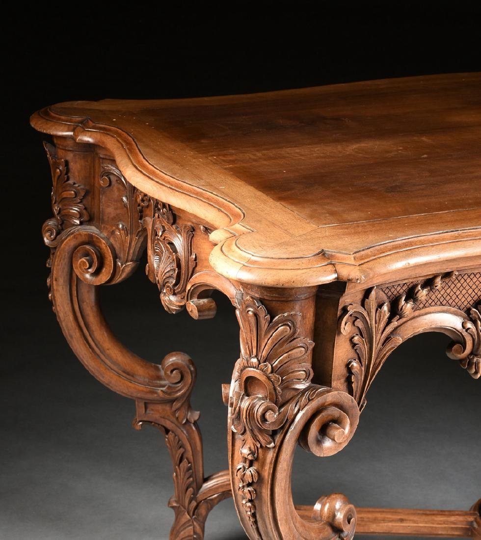 A LOUIS XV STYLE CARVED WALNUT CENTER TABLE, 20TH - 9