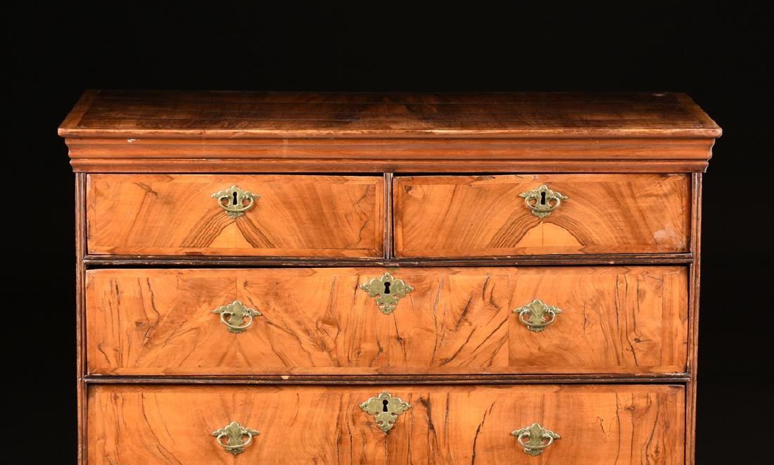 A QUEEN ANNE OAK AND BLACK WALNUT VENEERED CHEST ON - 2