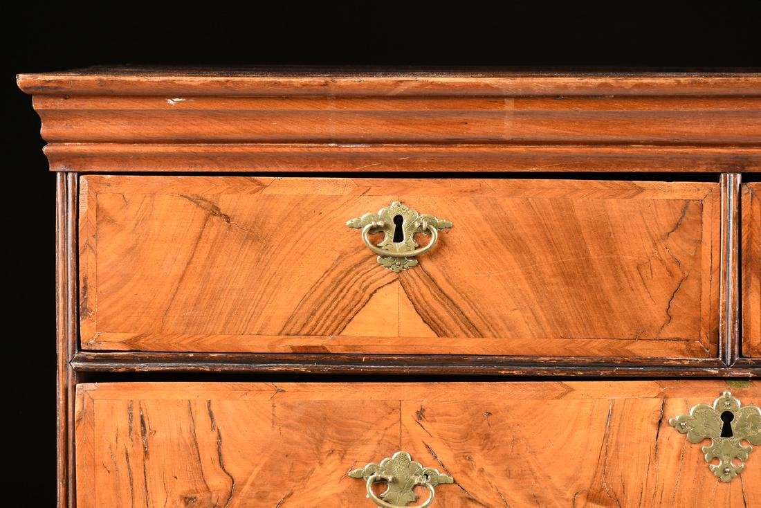 A QUEEN ANNE OAK AND BLACK WALNUT VENEERED CHEST ON - 3