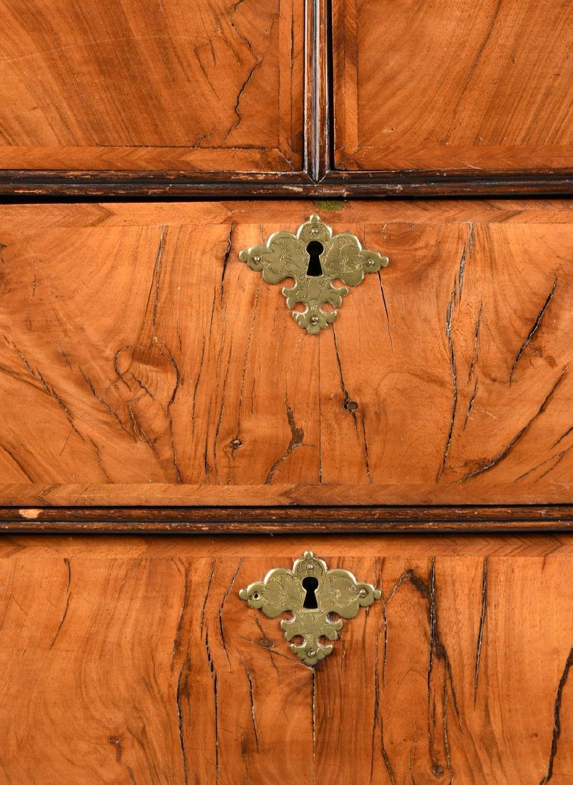 A QUEEN ANNE OAK AND BLACK WALNUT VENEERED CHEST ON - 4